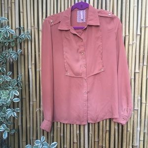 Mauve Brand Rust Button-Down Top